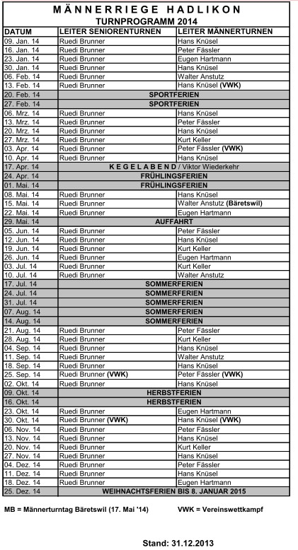 Turnprogramm 2014